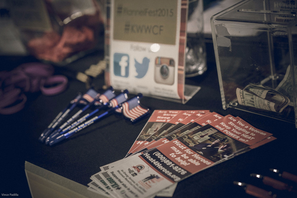 Keep Wisconsin Warm/Cool Fund marketing materials: pencils, flyers, and a donation box